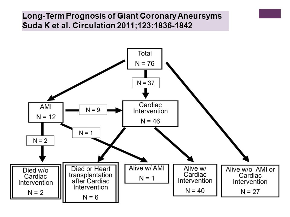 Long-Term Prognosis of Giant Coronary Aneursyms Suda K et al. Circulation 2011;123:1836-1842