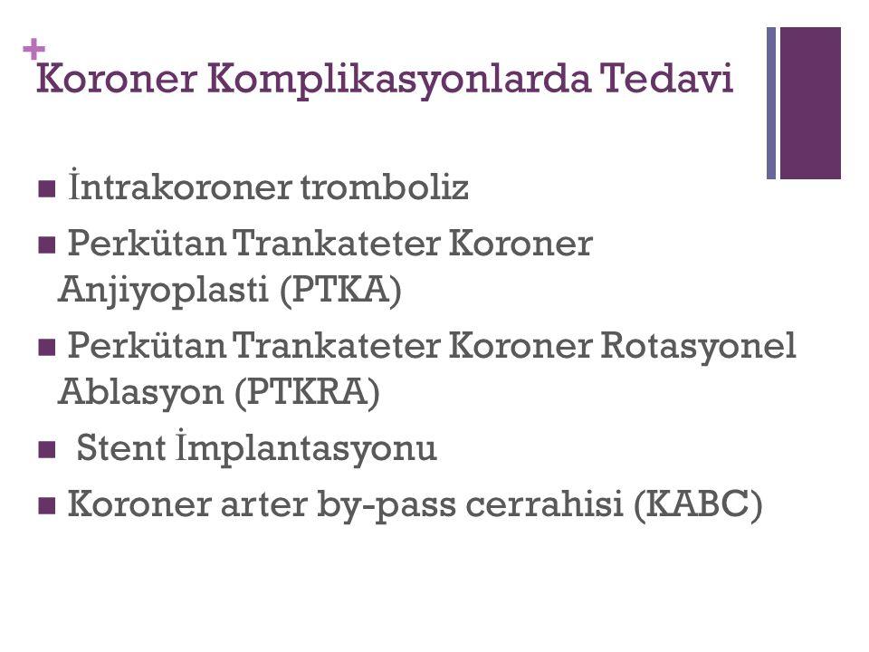 + Koroner Komplikasyonlarda Tedavi İ ntrakoroner tromboliz Perkütan Trankateter Koroner Anjiyoplasti (PTKA) Perkütan Trankateter Koroner Rotasyonel Ablasyon (PTKRA) Stent İ mplantasyonu Koroner arter by-pass cerrahisi (KABC)