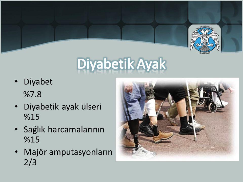 Diyabet %7.8 Diyabetik ayak ülseri %15 Sağlık harcamalarının %15 Majör amputasyonların 2/3