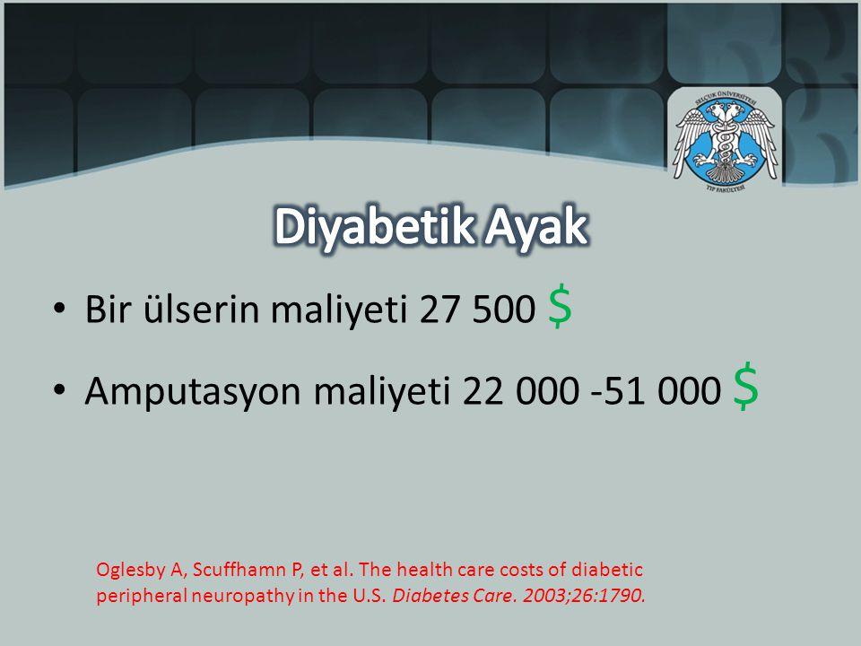 Bir ülserin maliyeti 27 500 $ Amputasyon maliyeti 22 000 -51 000 $ Oglesby A, Scuffhamn P, et al.