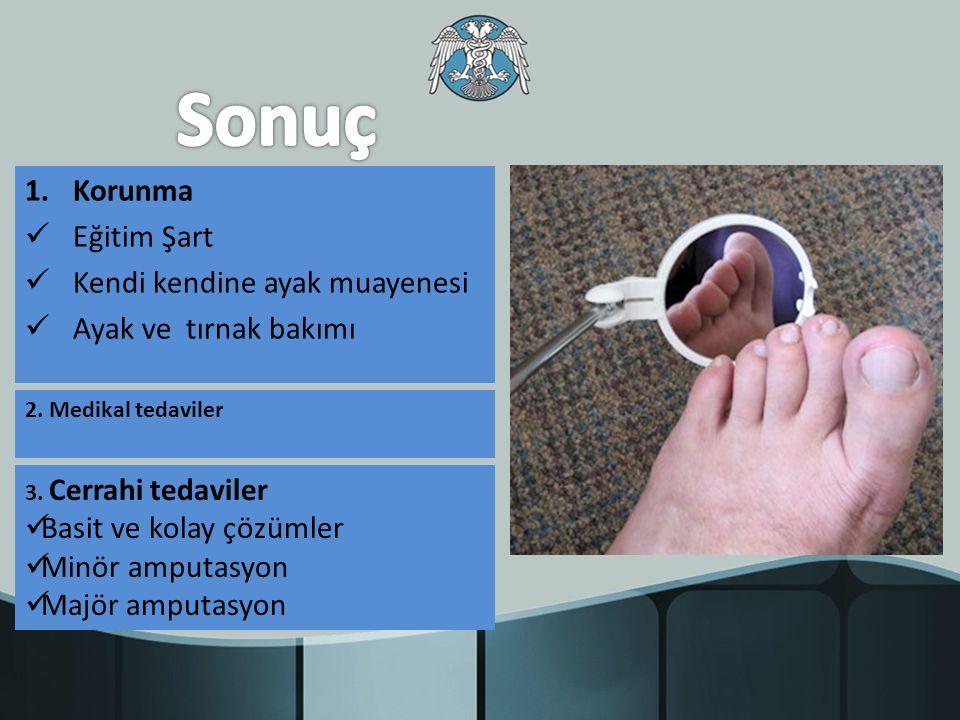 1.Korunma Eğitim Şart Kendi kendine ayak muayenesi Ayak ve tırnak bakımı 2. Medikal tedaviler 3. Cerrahi tedaviler Basit ve kolay çözümler Minör amput