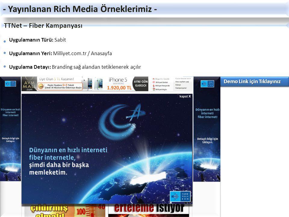 TTNet – Fiber Kampanyası Uygulamanın Türü: Sabit Uygulamanın Yeri: Milliyet.com.tr / Anasayfa Uygulama Detayı: Branding sağ alandan tetiklenerek açılı