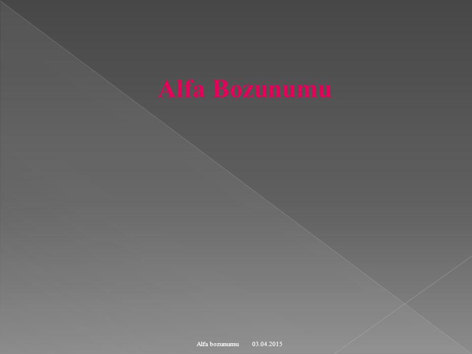 03.04.2015 Alfa bozunumu Şekil: Geiger –Nutthall kuralı:  -Bozunumu da yarı ömür t 1/2 ile bozuma enerji Q ile arasındaki ters bağıntı.