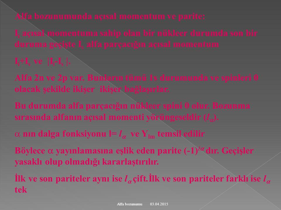 03.04.2015Alfa bozunumu Alfa bozunumunda açısal momentum ve parite: I i açısal momentuma sahip olan bir nükleer durumda son bir duruma geçişte I s alfa parçacığın açısal momentum I i +I s ve  I i -I s .