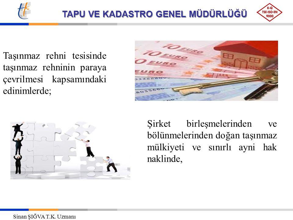 TAPU VE KADASTRO GENEL MÜDÜRLÜĞÜ Taşınmaz rehni tesisinde taşınmaz rehninin paraya çevrilmesi kapsamındaki edinimlerde; Şirket birleşmelerinden ve böl