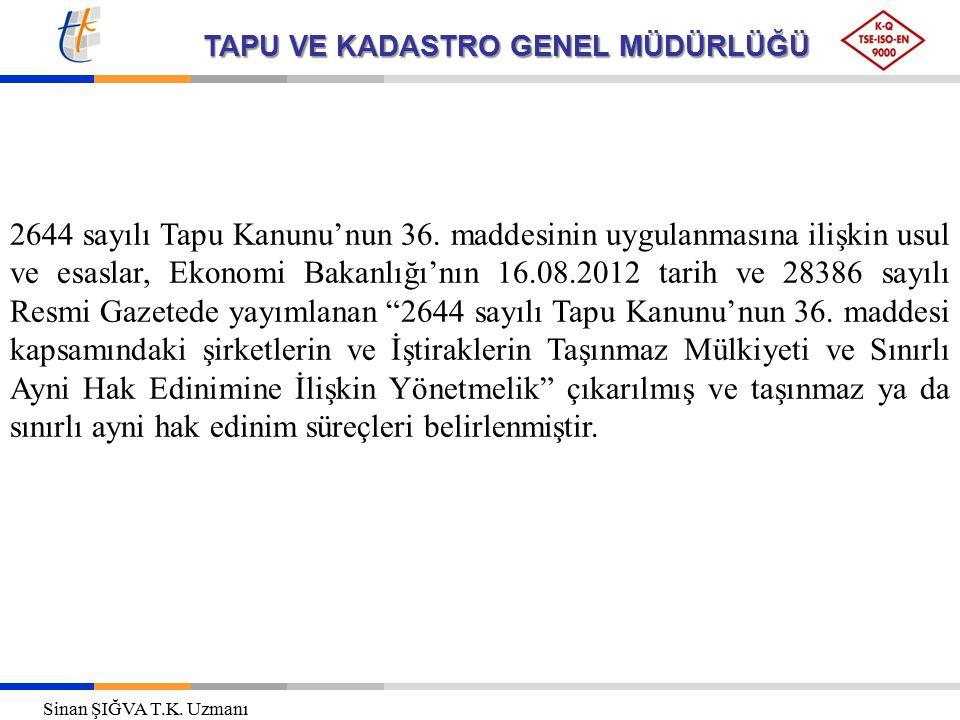 TAPU VE KADASTRO GENEL MÜDÜRLÜĞÜ 2644 sayılı Tapu Kanunu'nun 36. maddesinin uygulanmasına ilişkin usul ve esaslar, Ekonomi Bakanlığı'nın 16.08.2012 ta