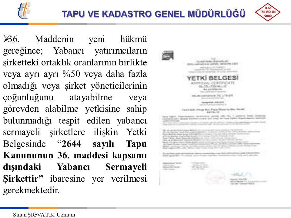 TAPU VE KADASTRO GENEL MÜDÜRLÜĞÜ  36.