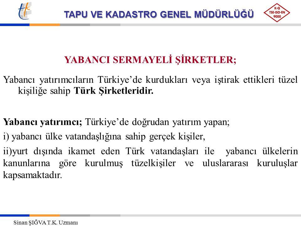 TAPU VE KADASTRO GENEL MÜDÜRLÜĞÜ YABANCI SERMAYELİ ŞİRKETLER; Yabancı yatırımcıların Türkiye'de kurdukları veya iştirak ettikleri tüzel kişiliğe sahip
