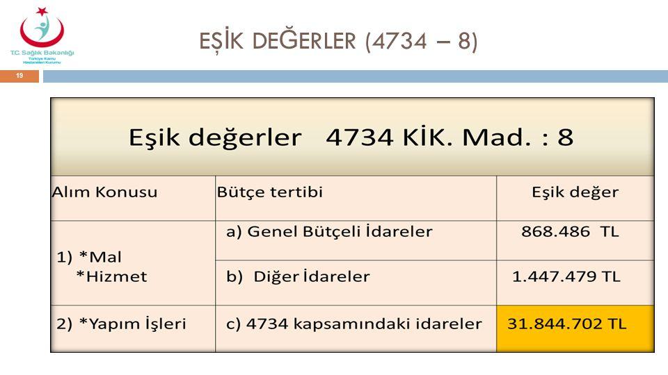 EŞ İ K DE Ğ ERLER (4734 – 8) 19