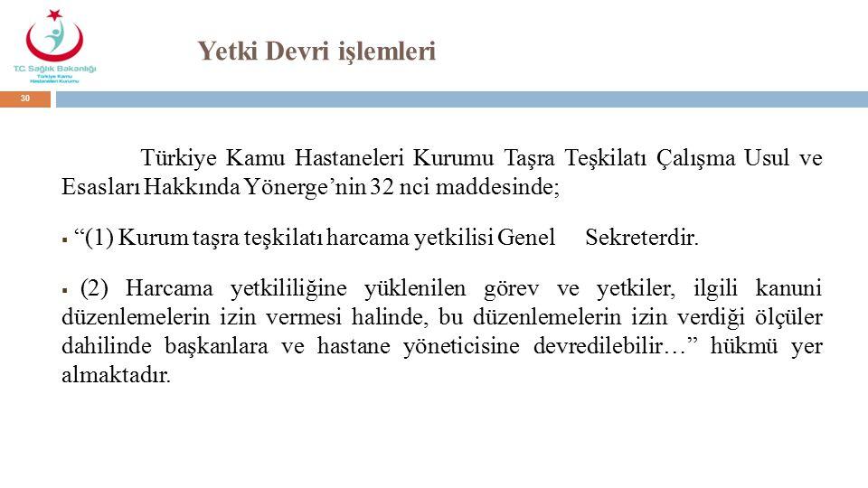 Yetki Devri işlemleri Türkiye Kamu Hastaneleri Kurumu Taşra Teşkilatı Çalışma Usul ve Esasları Hakkında Yönerge'nin 32 nci maddesinde;  (1) Kurum taşra teşkilatı harcama yetkilisi Genel Sekreterdir.