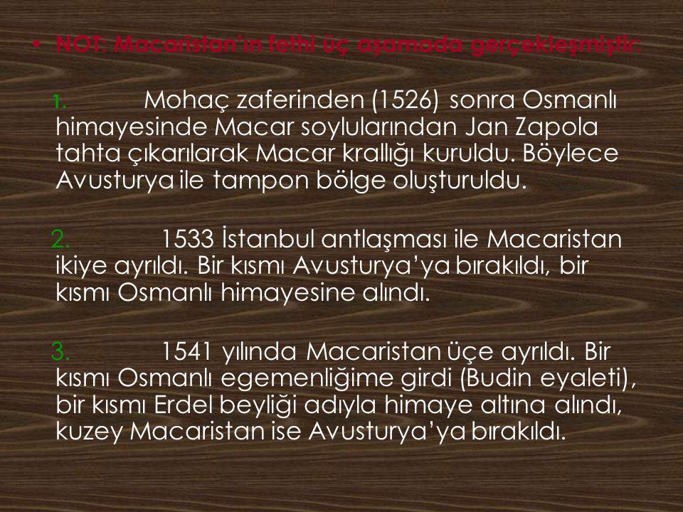 NOT: Macaristan'ın fethi üç aşamada gerçekleşmiştir: 1. Mohaç zaferinden (1526) sonra Osmanlı himayesinde Macar soylularından Jan Zapola tahta çıkarıl