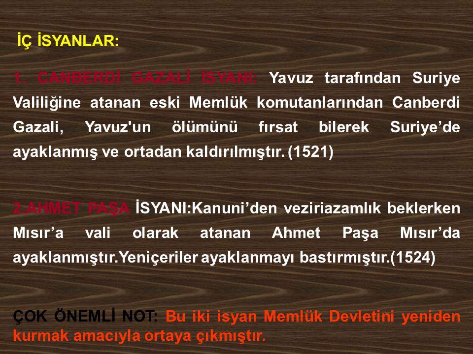 3.BABA ZÜNNUN İSYANI:Baba Zünnun adında biri Yozgat civarında vergilerin ağırlığını bahane ederek ayaklanmıştır.(1526) Ayaklanmanın asıl nedeni şii propagandasıdır.