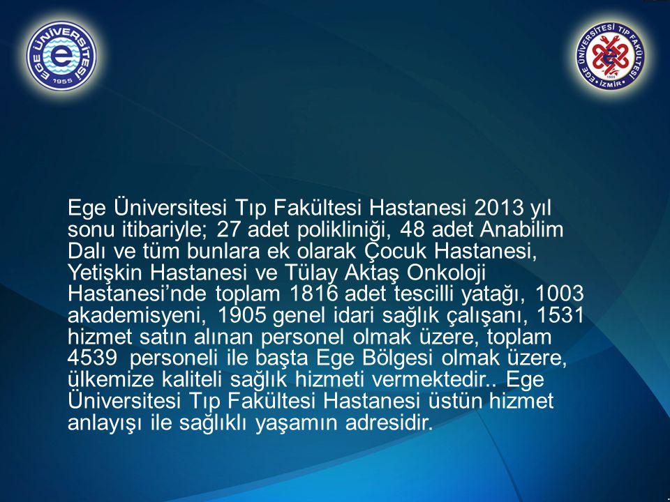 .. Ege Üniversitesi Tıp Fakültesi Hastanesi 2013 yıl sonu itibariyle; 27 adet polikliniği, 48 adet Anabilim Dalı ve tüm bunlara ek olarak Çocuk Hastan