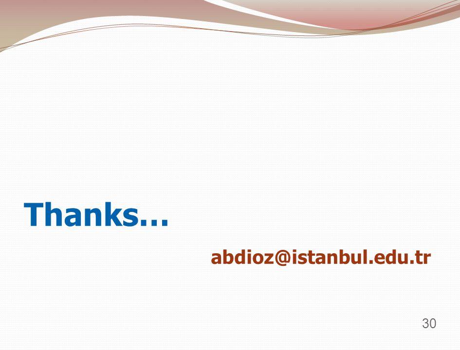 Thanks… abdioz@istanbul.edu.tr 30