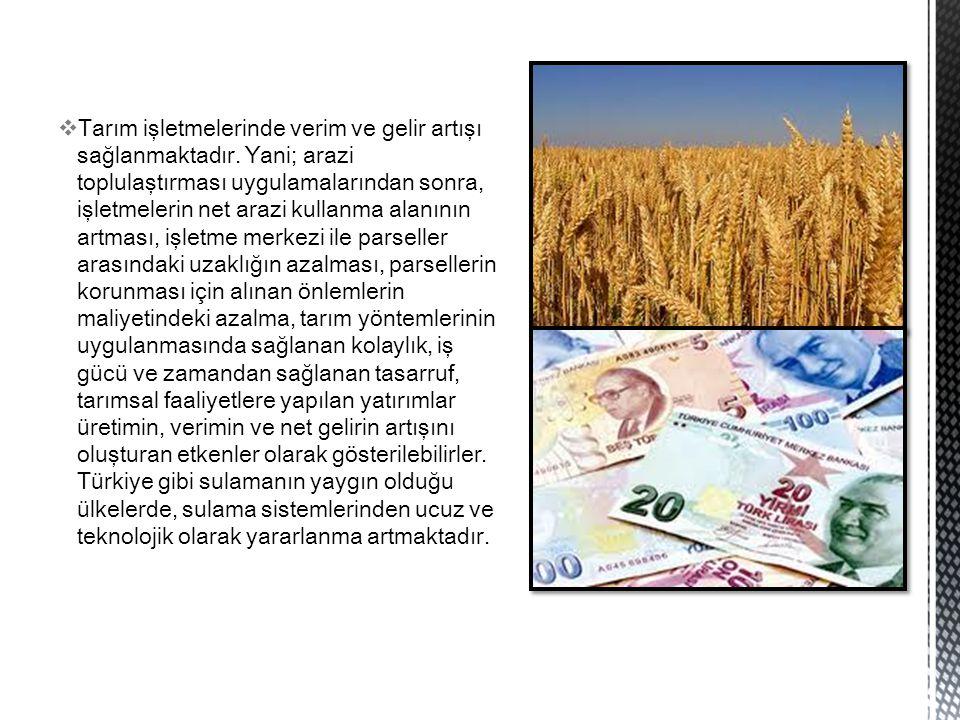  Tarım işletmelerinde verim ve gelir artışı sağlanmaktadır. Yani; arazi toplulaştırması uygulamalarından sonra, işletmelerin net arazi kullanma alanı