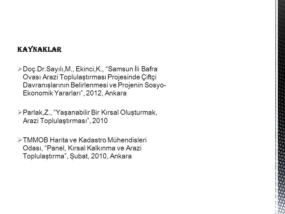KAYNAKLAR  Doç.Dr.Sayılı,M., Ekinci,K., Samsun İli Bafra Ovası Arazi Toplulaştırması Projesinde Çiftçi Davranışlarının Belirlenmesi ve Projenin Sosyo- Ekonomik Yararları , 2012, Ankara  Parlak,Z., Yaşanabilir Bir Kırsal Oluşturmak, Arazi Toplulaştırması , 2010  TMMOB Harita ve Kadastro Mühendisleri Odası, Panel, Kırsal Kalkınma ve Arazi Toplulaştırma , Şubat, 2010, Ankara