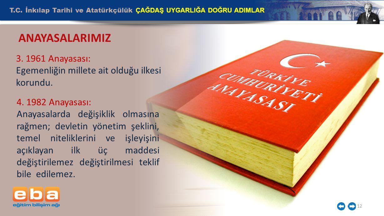 T.C.İnkılap Tarihi ve Atatürkçülük ÇAĞDAŞ UYGARLIĞA DOĞRU ADIMLAR 12 ANAYASALARIMIZ 3.