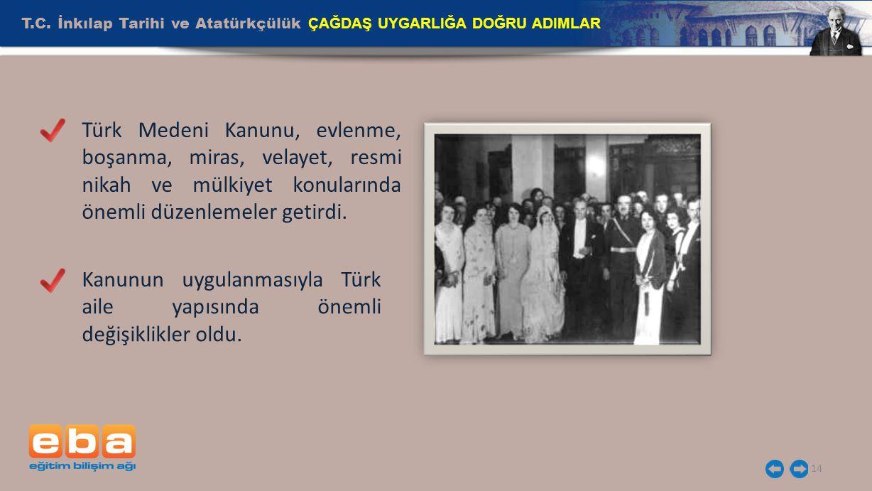 T.C. İnkılap Tarihi ve Atatürkçülük ÇAĞDAŞ UYGARLIĞA DOĞRU ADIMLAR 14 Türk Medeni Kanunu, evlenme, boşanma, miras, velayet, resmi nikah ve mülkiyet ko