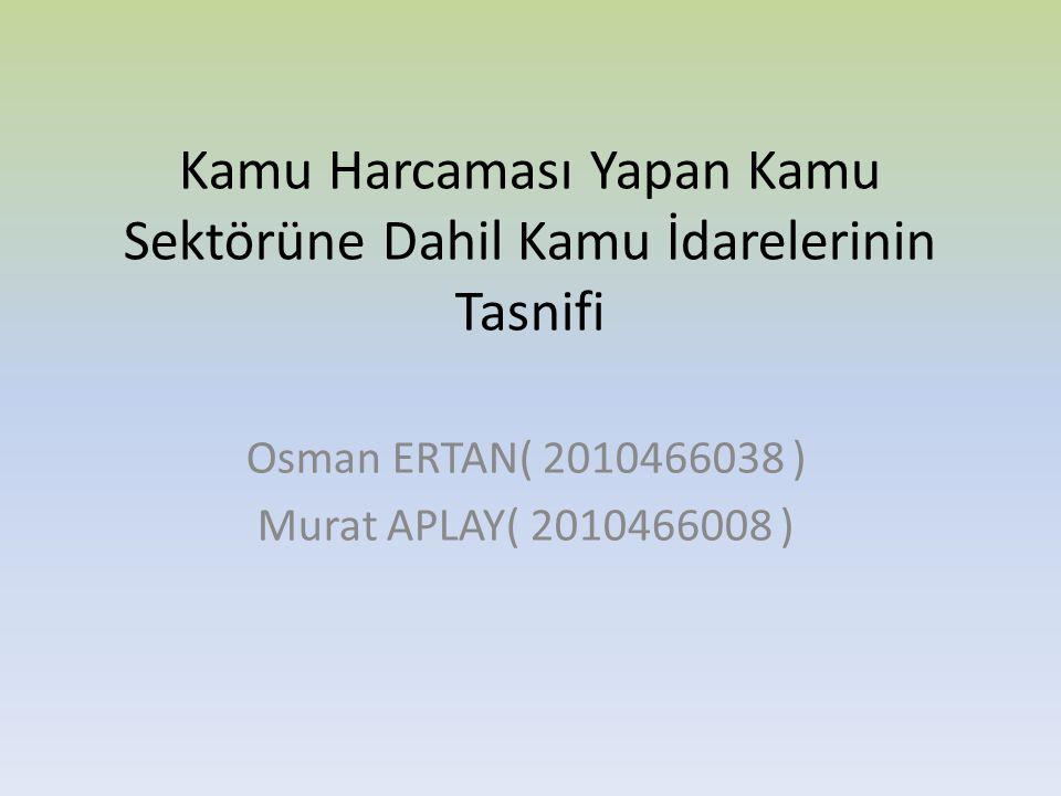 Kamu Harcaması Yapan Kamu Sektörüne Dahil Kamu İdarelerinin Tasnifi Osman ERTAN( 2010466038 ) Murat APLAY( 2010466008 )