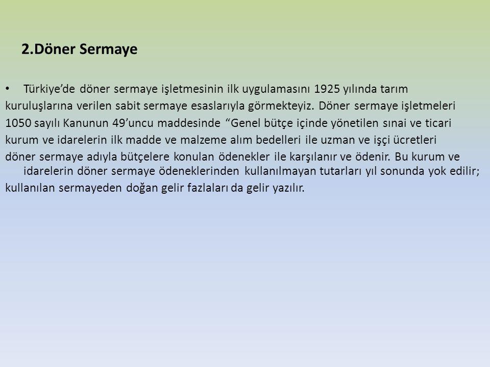 2.Döner Sermaye Türkiye'de döner sermaye işletmesinin ilk uygulamasını 1925 yılında tarım kuruluşlarına verilen sabit sermaye esaslarıyla görmekteyiz.