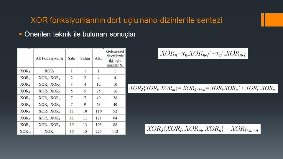 XOR fonksiyonlarının dört-uçlu nano-dizinler ile sentezi  Önerilen teknik ile bulunan sonuçlar