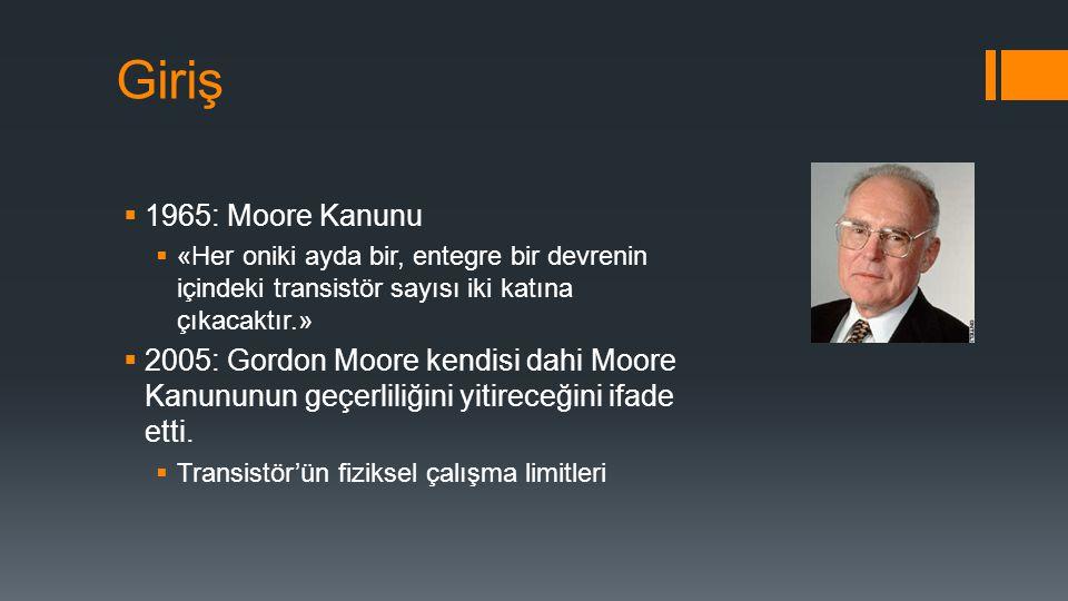 Giriş  1965: Moore Kanunu  «Her oniki ayda bir, entegre bir devrenin içindeki transistör sayısı iki katına çıkacaktır.»  2005: Gordon Moore kendisi