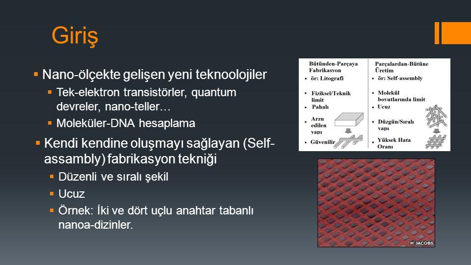 Giriş  Nano-ölçekte gelişen yeni teknoolojiler  Tek-elektron transistörler, quantum devreler, nano-teller…  Moleküler-DNA hesaplama  Kendi kendine