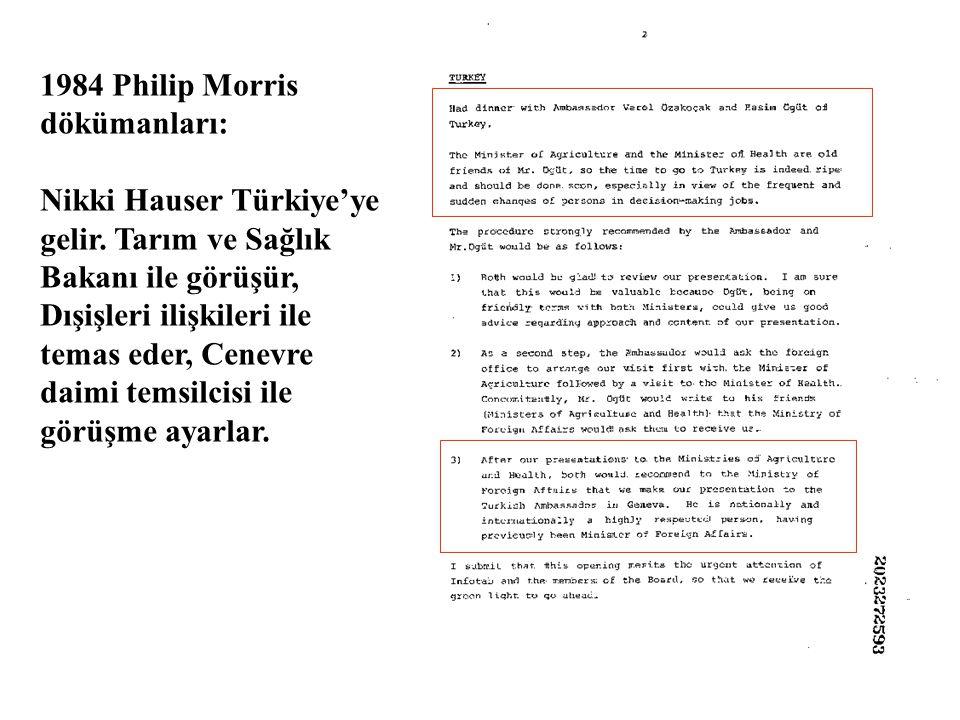 1984 Philip Morris dökümanları: Nikki Hauser Türkiye'ye gelir.