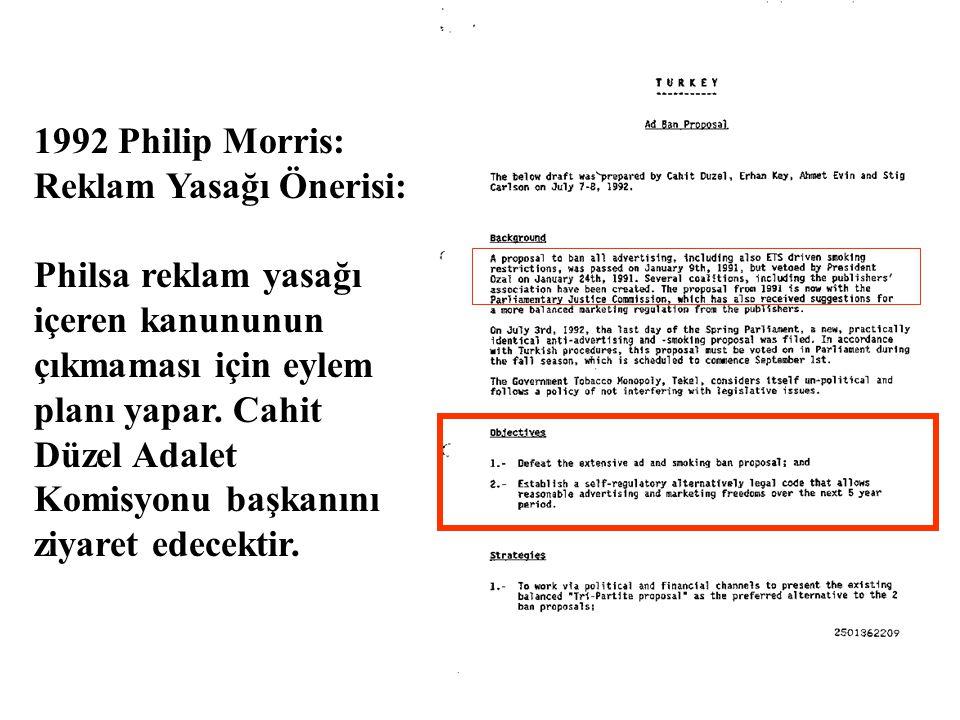 1992 Philip Morris: Reklam Yasağı Önerisi: Philsa reklam yasağı içeren kanununun çıkmaması için eylem planı yapar.