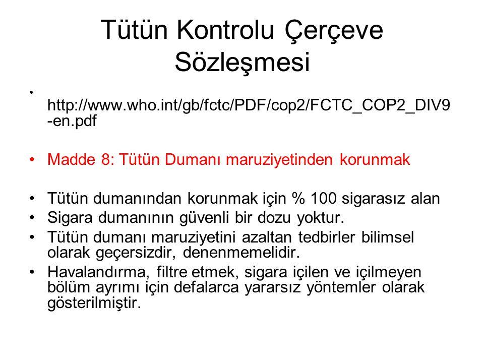 Tütün Kontrolu Çerçeve Sözleşmesi http://www.who.int/gb/fctc/PDF/cop2/FCTC_COP2_DIV9 -en.pdf Madde 8: Tütün Dumanı maruziyetinden korunmak Tütün duman