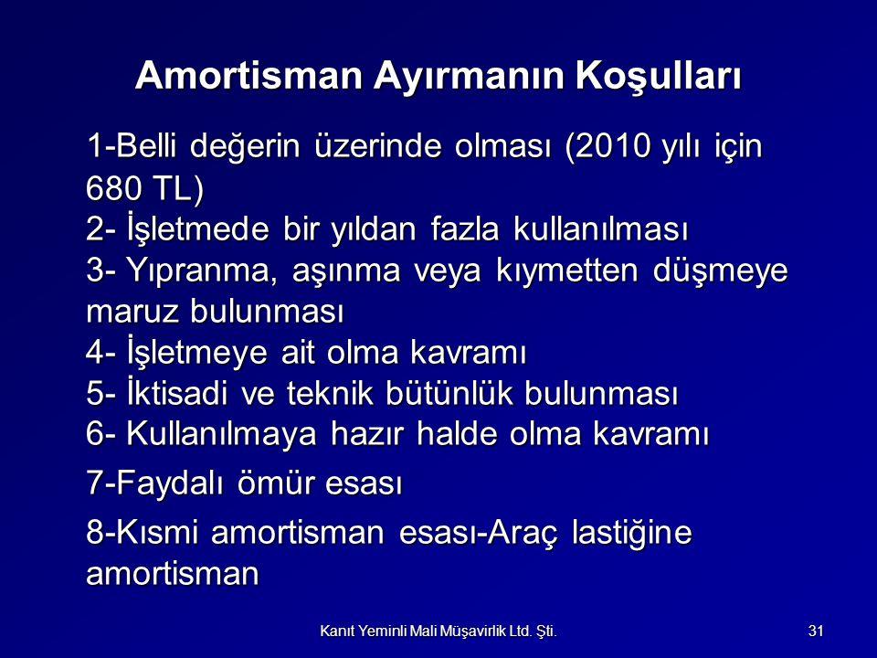 Amortisman Ayırmanın Koşulları 1-Belli değerin üzerinde olması (2010 yılı için 680 TL) 2- İşletmede bir yıldan fazla kullanılması 3- Yıpranma, aşınma