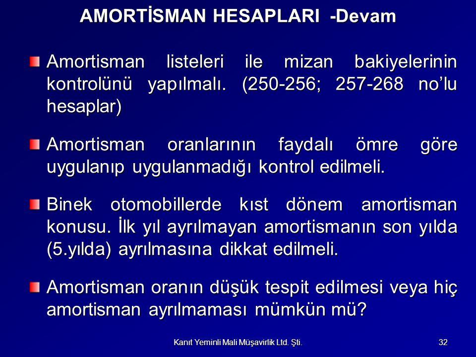 AMORTİSMAN HESAPLARI -Devam Amortisman listeleri ile mizan bakiyelerinin kontrolünü yapılmalı. (250-256; 257-268 no'lu hesaplar) Amortisman oranlarını