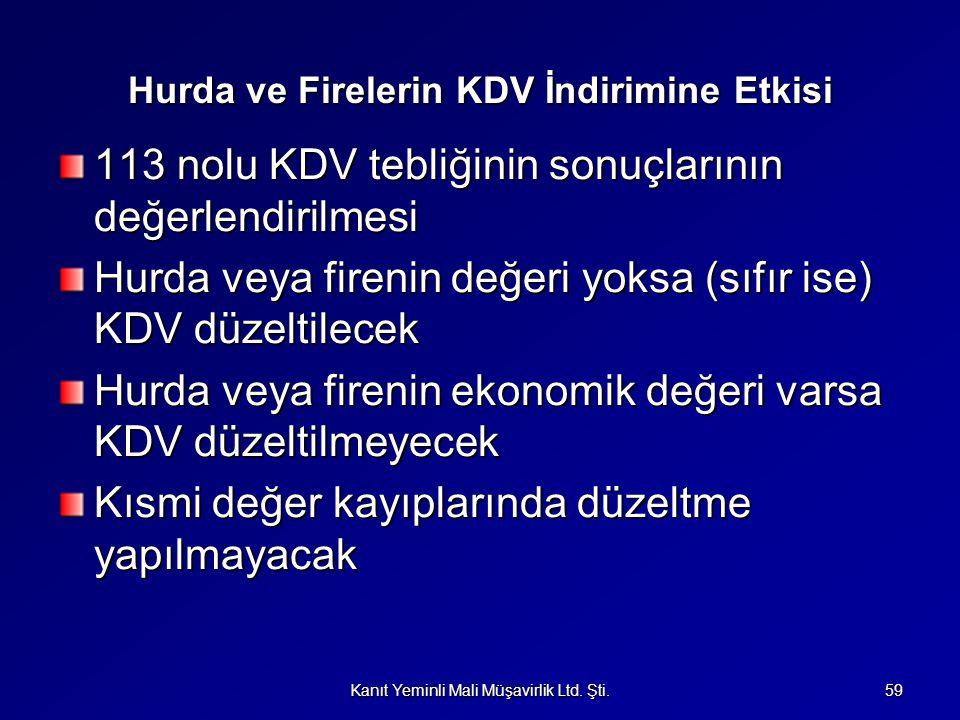 Hurda ve Firelerin KDV İndirimine Etkisi 113 nolu KDV tebliğinin sonuçlarının değerlendirilmesi Hurda veya firenin değeri yoksa (sıfır ise) KDV düzelt
