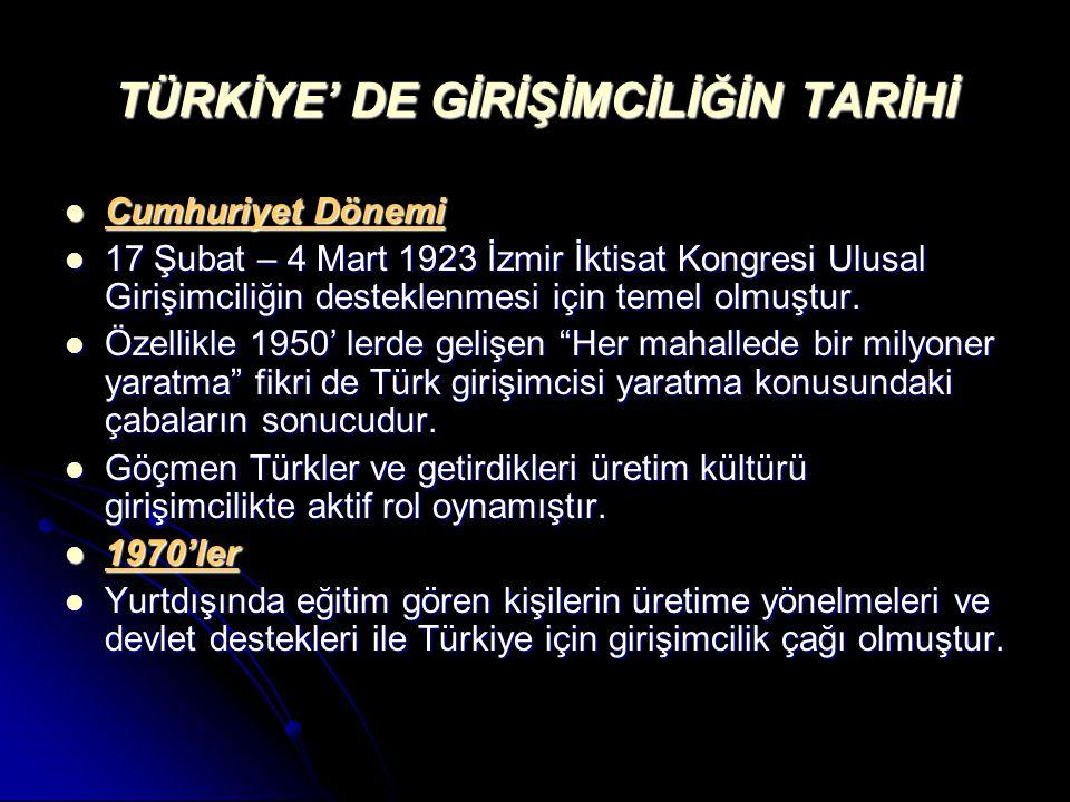TÜRKİYE' DE GİRİŞİMCİLİĞİN TARİHİ Cumhuriyet Dönemi Cumhuriyet Dönemi 17 Şubat – 4 Mart 1923 İzmir İktisat Kongresi Ulusal Girişimciliğin desteklenmesi için temel olmuştur.