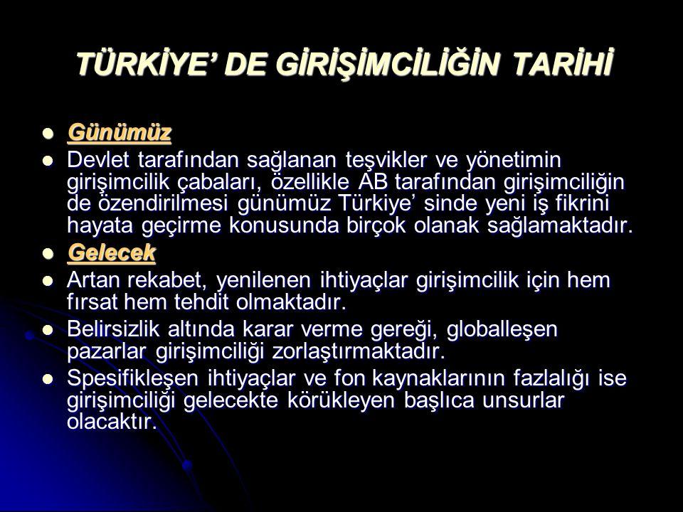 TÜRKİYE' DE GİRİŞİMCİLİĞİN TARİHİ Günümüz Günümüz Devlet tarafından sağlanan teşvikler ve yönetimin girişimcilik çabaları, özellikle AB tarafından girişimciliğin de özendirilmesi günümüz Türkiye' sinde yeni iş fikrini hayata geçirme konusunda birçok olanak sağlamaktadır.