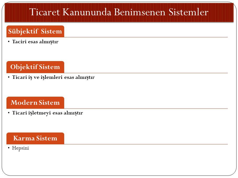 Ticaret Kanununda Benimsenen Sistemler Sübjektif Sistem Taciri esas almı ş tır Objektif Sistem Ticari i ş ve i ş lemleri esas almı ş tır Modern Sistem