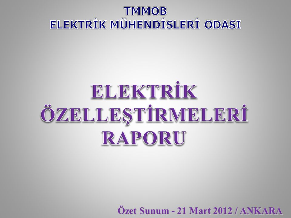 1.Giriş 2.Özelleştirmenin Kısaca Geçmişi 3.4628 sayılı Yasa Kapsamında Yapılan Özelleştirmeler 3.1- Elektrik Dağıtım B ö lgesi Ö zelleştirmeleri 3.2- Elektrik Ü retim Santralı Ö zelleştirmeleri 4- Ö zelleştirmenin Amaçları İle Uygulamaların Karşılaştırılması 4.1- Elektrik Enerjisi T ü ketim Bedelleri 4.1.a- Elektrik Ü retim Bedeli 4.1.b- Kayıp/Ka ç ak Bedeli 4.1.c- PSH (Sayaç Okuma) Bedeli 4.2- Elektrik Enerjisi Hizmet Bedelleri 4.2.a- Bağlantı Bedeli 4.2.b- Kesme-Bağlama Bedeli 4.2.c- G ü vence Bedeli 4.2.d- Sayaç S ö kme Takma Bedeli 4.3- Elektrik Dağıtım Tesisi Yatırımları 4.4- Elektrik Dağıtım Tesislerinde Periyodik Bakımlar 5.Sonuç ve Öneriler 1.Giriş 2.Özelleştirmenin Kısaca Geçmişi 3.4628 sayılı Yasa Kapsamında Yapılan Özelleştirmeler 3.1- Elektrik Dağıtım B ö lgesi Ö zelleştirmeleri 3.2- Elektrik Ü retim Santralı Ö zelleştirmeleri 4- Ö zelleştirmenin Amaçları İle Uygulamaların Karşılaştırılması 4.1- Elektrik Enerjisi T ü ketim Bedelleri 4.1.a- Elektrik Ü retim Bedeli 4.1.b- Kayıp/Ka ç ak Bedeli 4.1.c- PSH (Sayaç Okuma) Bedeli 4.2- Elektrik Enerjisi Hizmet Bedelleri 4.2.a- Bağlantı Bedeli 4.2.b- Kesme-Bağlama Bedeli 4.2.c- G ü vence Bedeli 4.2.d- Sayaç S ö kme Takma Bedeli 4.3- Elektrik Dağıtım Tesisi Yatırımları 4.4- Elektrik Dağıtım Tesislerinde Periyodik Bakımlar 5.Sonuç ve Öneriler