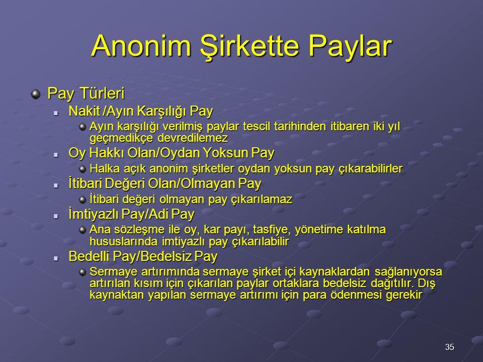 35 Anonim Şirkette Paylar Pay Türleri Nakit /Ayın Karşılığı Pay Nakit /Ayın Karşılığı Pay Ayın karşılığı verilmiş paylar tescil tarihinden itibaren ik