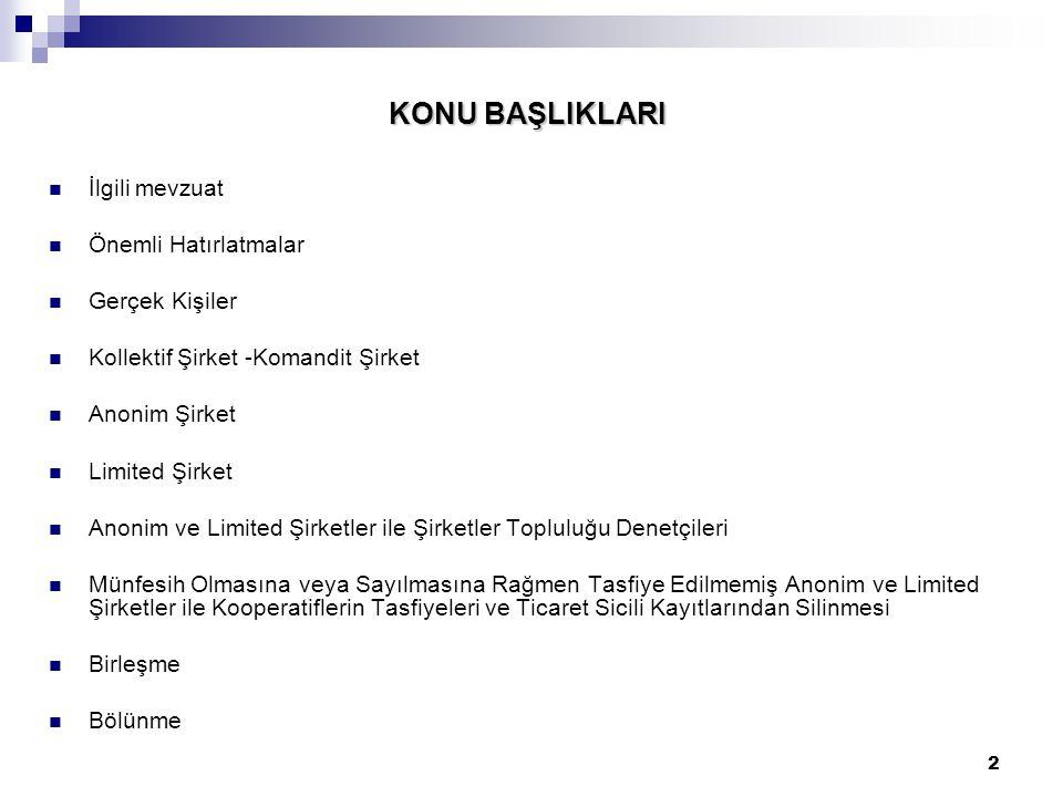 33 ÖNEMLİ HATIRLATMALAR Çevre ve Şehircilik Bakanlığı Tapu ve Kadastro Genel Müdürlüğü Tapu Dairesi Başkanlığı'nın 6 Şubat 2013 tarih ve 2013/7(1744) sayılı Genelgesi uyarınca;  TTK'nın 125.