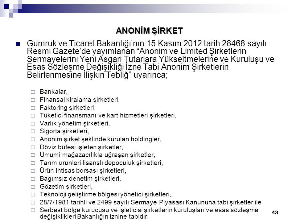 """43 ANONİM ŞİRKET Gümrük ve Ticaret Bakanlığı'nın 15 Kasım 2012 tarih 28468 sayılı Resmi Gazete'de yayımlanan """"Anonim ve Limited Şirketlerin Sermayeler"""