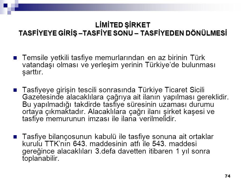 74 LİMİTED ŞİRKET TASFİYEYE GİRİŞ –TASFİYE SONU – TASFİYEDEN DÖNÜLMESİ Temsile yetkili tasfiye memurlarından en az birinin Türk vatandaşı olması ve ye