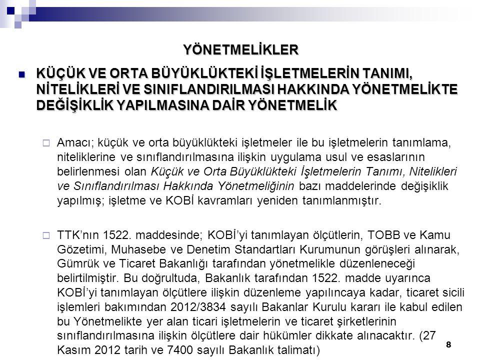 29 ÖNEMLİ HATIRLATMALAR Anonim ve limited şirketlerin esas sözleşmelerini, TTK'nın yürürlük tarihinden itibaren 12 ay içinde yani 01.07.2013 tarihine kadar, TTK ile uyumlu hâle getirirler.