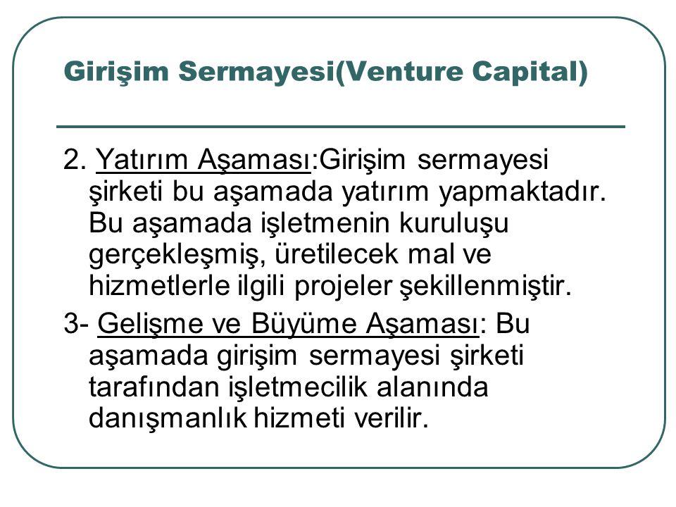 Girişim Sermayesi(Venture Capital) 2. Yatırım Aşaması:Girişim sermayesi şirketi bu aşamada yatırım yapmaktadır. Bu aşamada işletmenin kuruluşu gerçekl