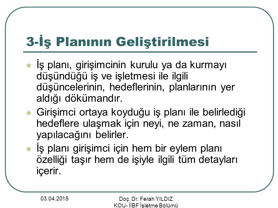 03.04.2015 Doç. Dr. Ferah YILDIZ KOU- İİBF İşletme Bölümü 3-İş Planının Geliştirilmesi İş planı, girişimcinin kurulu ya da kurmayı düşündüğü iş ve işl