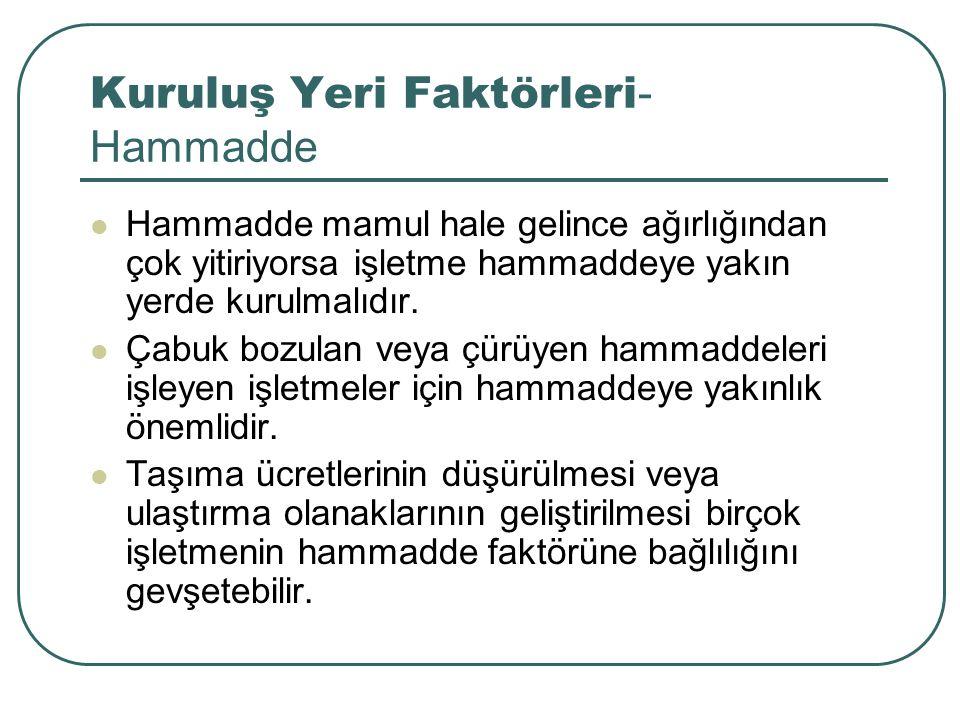Kuruluş Yeri Faktörleri - Hammadde Hammadde mamul hale gelince ağırlığından çok yitiriyorsa işletme hammaddeye yakın yerde kurulmalıdır. Çabuk bozulan