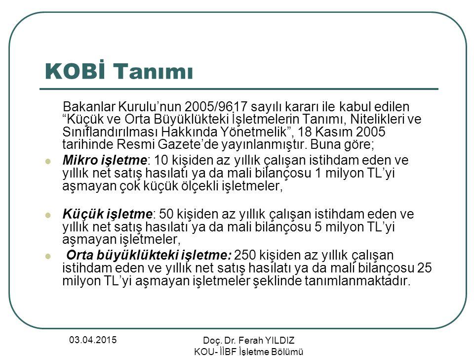 """03.04.2015 Doç. Dr. Ferah YILDIZ KOU- İİBF İşletme Bölümü KOBİ Tanımı Bakanlar Kurulu'nun 2005/9617 sayılı kararı ile kabul edilen """"Küçük ve Orta Büyü"""
