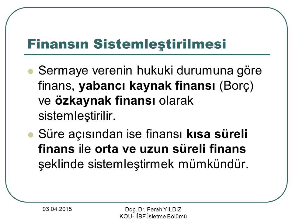 03.04.2015 Doç. Dr. Ferah YILDIZ KOU- İİBF İşletme Bölümü Finansın Sistemleştirilmesi Sermaye verenin hukuki durumuna göre finans, yabancı kaynak fina