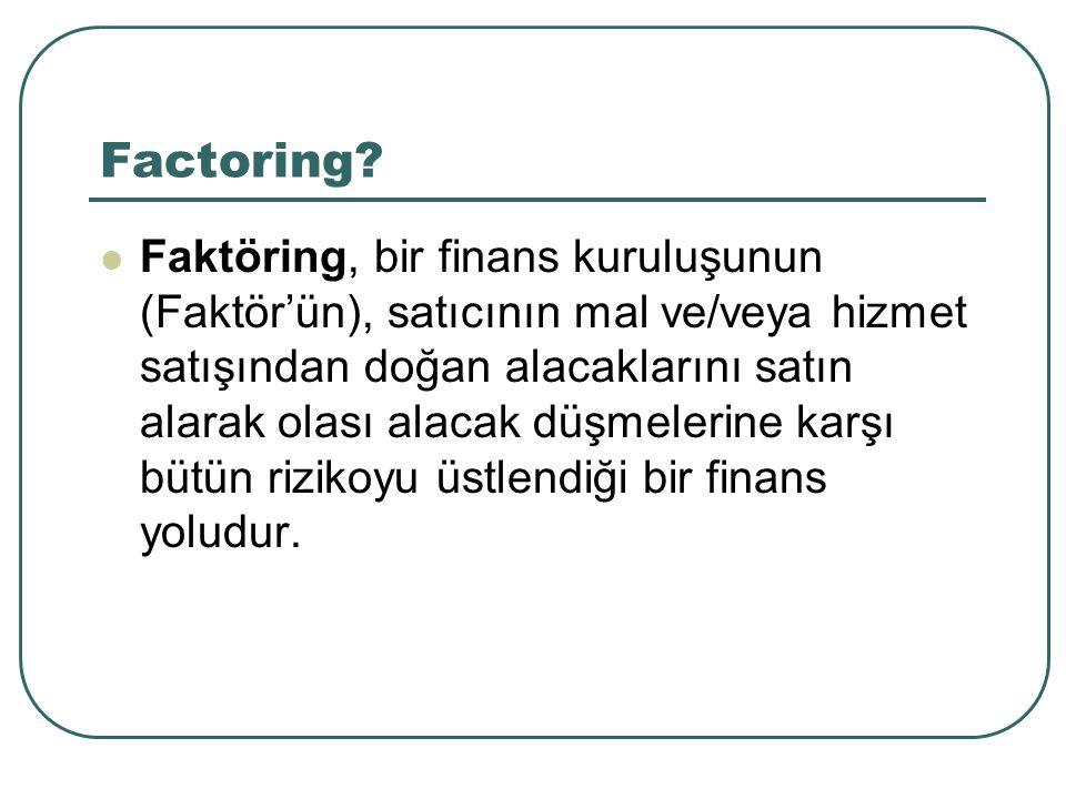 Factoring? Faktöring, bir finans kuruluşunun (Faktör'ün), satıcının mal ve/veya hizmet satışından doğan alacaklarını satın alarak olası alacak düşmele