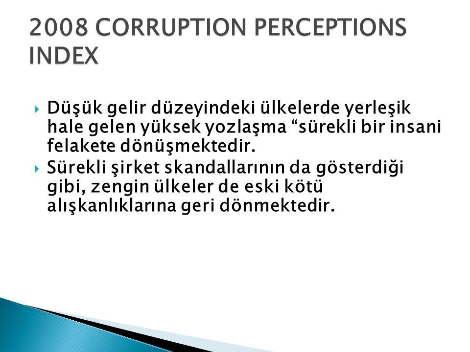 """2008 CORRUPTION PERCEPTIONS INDEX  Düşük gelir düzeyindeki ülkelerde yerleşik hale gelen yüksek yozlaşma """"sürekli bir insani felakete dönüşmektedir."""