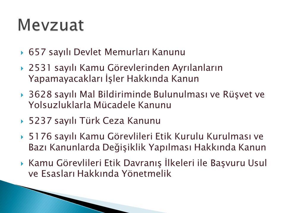  657 sayılı Devlet Memurları Kanunu  2531 sayılı Kamu Görevlerinden Ayrılanların Yapamayacakları İşler Hakkında Kanun  3628 sayılı Mal Bildiriminde